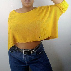 Volcom Mustard Yellow Crop Sweater Dolman Sleeve s